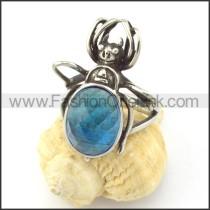 Light Blue Stone Beetle Ring r001151