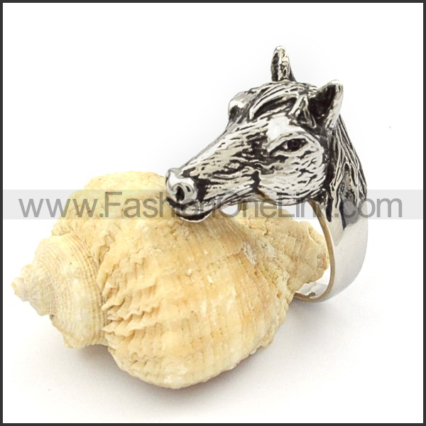 Stainless Steel Horse Animal Ring r000342