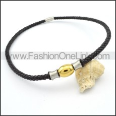 Black Leather Necklace with Golden Bead    n000103