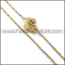 Two Tone Cylinder Plated Necklace n001060