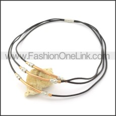 Delicate Black Leather Necklace     n000450