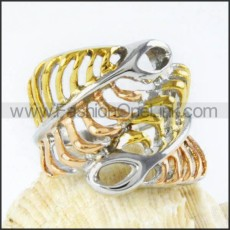 Stainless Steel Plated Hollowed-out Ring r000051