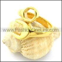 Yellow Gold-plating Spanner Ring r000884