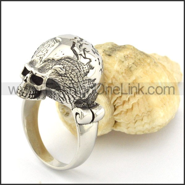 Stainless Steel Skull Ring r001053