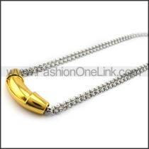 Silver Necklace with Golden Collar n001148