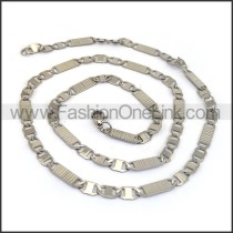 Flat Silver Stamping Necklace n001169