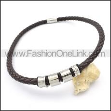 Succinct Black Leather  Necklace   n000099