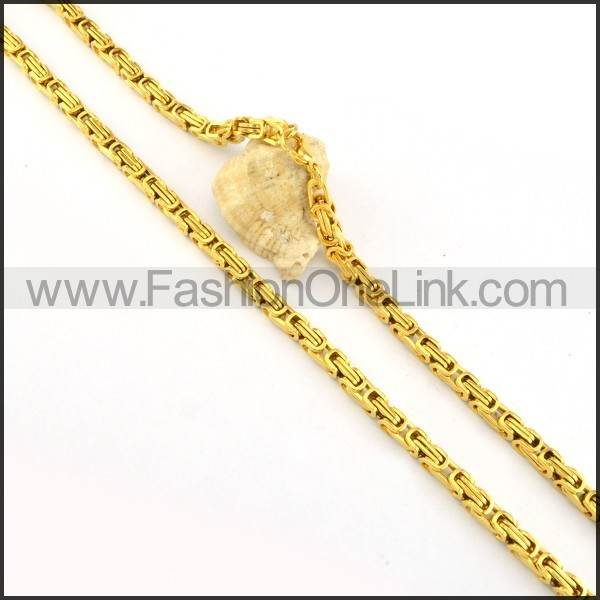 Succinct Golden Plated Necklace   n000157