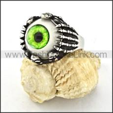 Stainless Steel Green Eye Ring r000532