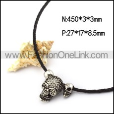 3MM Black Braided Leather Cord with Skull Heads Necklace n001243