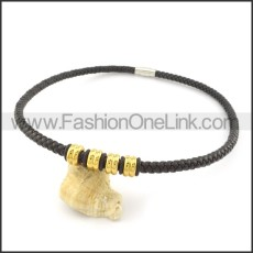 Black Leather Necklace with Golden Bead    n000446