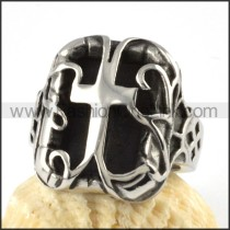 Unique Stainless Steel Cross Ring r000068