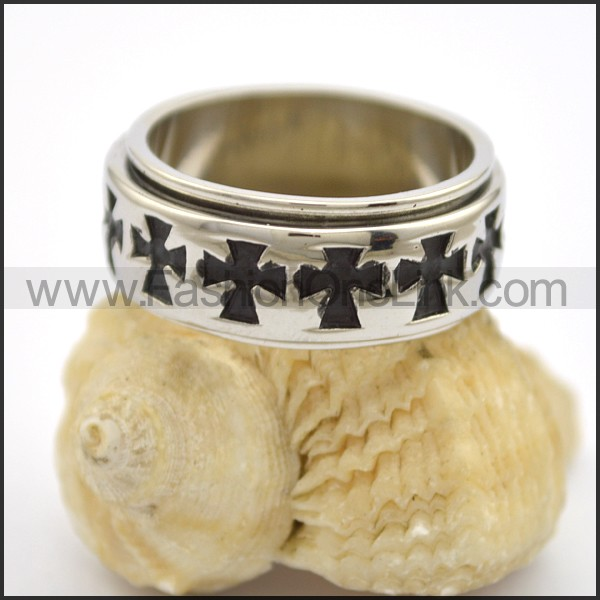 Stainless Steel Cross Ring   r002757