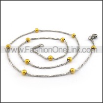 Silver Small Chain with Golden Bead n001174