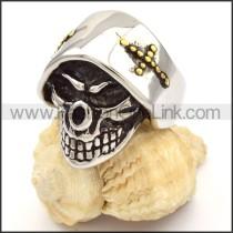 Stainless Steel Gold Cross Skull Rings r000479