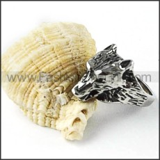 Stainless Steel Old Silver Wolf Ring r000257