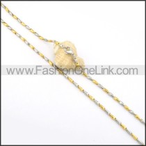 Golden and Silver Interlocking Chain Plated Necklace   n000080