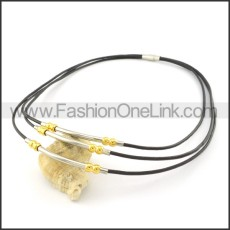 Succinct Black Leather Necklace     n000448