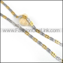 Two Tone Interlocking Chain Plated Necklace     n000059