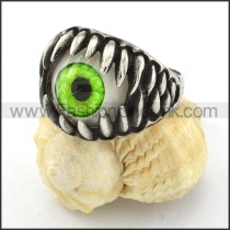Stainless Steel  Green Eye Ring r000536