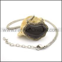 Vintage Black Stone Fashion Necklace n000756