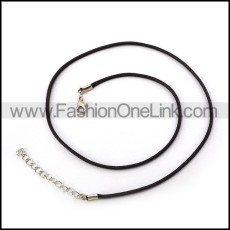 Black Leather Necklace    n000238