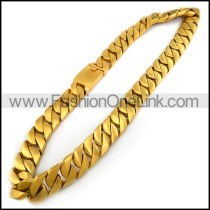 24MM Wide Heavy Weight Casting Necklace for Men in Gold Plating n001485