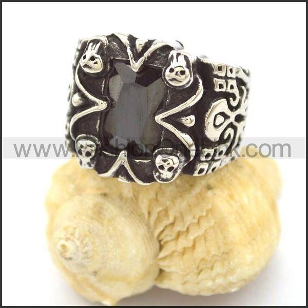 Vintage Stone Stainless Steel  Ring r002330