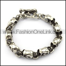8 Skull Heads Steel Bracelet with Skull OT Buckle b004928