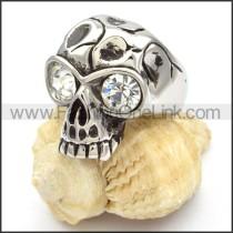Stainless Steel Crystal Eyes Skull Ring r000470