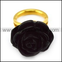 Gold Plated Ring with Black Rose r004020