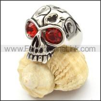 Stainless Steel Red Eyes Skull Ring r000469