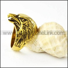 Stainless Steel Yellow Gold Condor Design Ring r000259