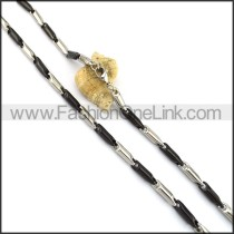 Black and Silver Cylinder Plated Necklace n001066