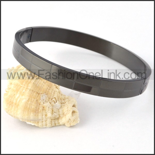 Black Small Rectangle Design Couple Bangle b000407