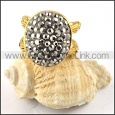 Gold Plating Stainless Steel Solid Rhinestone Ring r000192