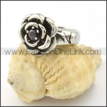 Stainless Steel Black Zircon Rose Ring r001130