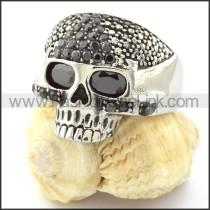 Stainless Steel Black Zircon Skull Ring r000740