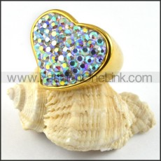 Gold Heart Rhinestone Ring in Stainless Steel r000203