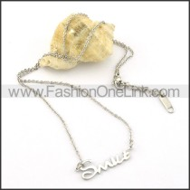 Silver SMILE Fashion Necklace  n000466