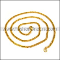Succinct Golden Interlocking Plated Necklace n001195