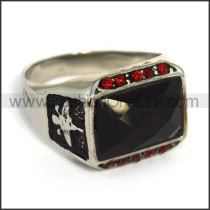 Vintage Exquisite Stainless Steel Stone Ring r003604