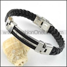 Silver Hasp Black Leather Bracelet b000017
