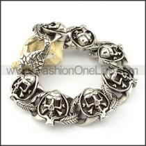 Ace of Heart Skull Stainless Steel Bracelet b000695