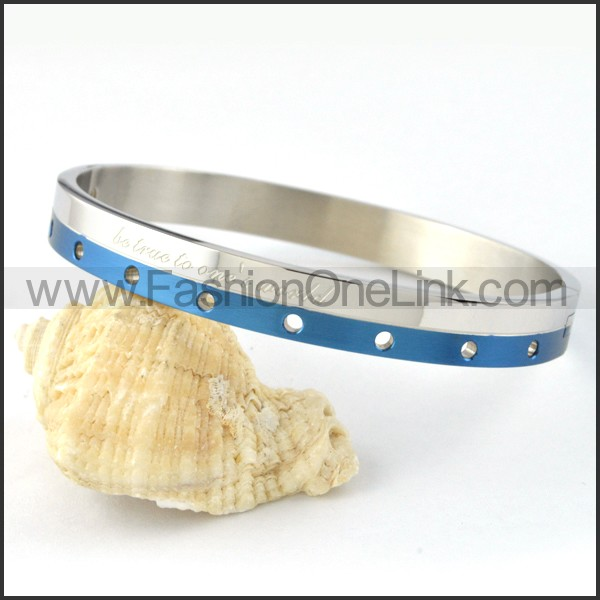 Blue Stripe Small Round Holes Couple Bangle b000431