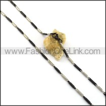 Black and Silver Cylinder Plated Necklace n001063