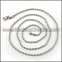 Twisted Rope Silver Stamping Necklace n001215