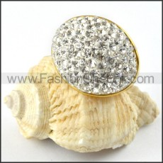 Stainless Steel Clear Zircon Ring r000216
