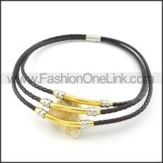 Unique Black Leather Golden  Necklace     n000452