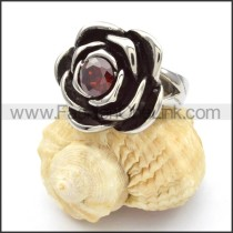Stainless Steel Dark Red Zircon Rose Ring r000465